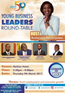 JCI (Junior Chamber International) City Zimbabwe celebrates '50 years of impact ' this year.  As one of it's activities the charter will host discourse under the theme is 'Youth Employment and Economic Growth'.