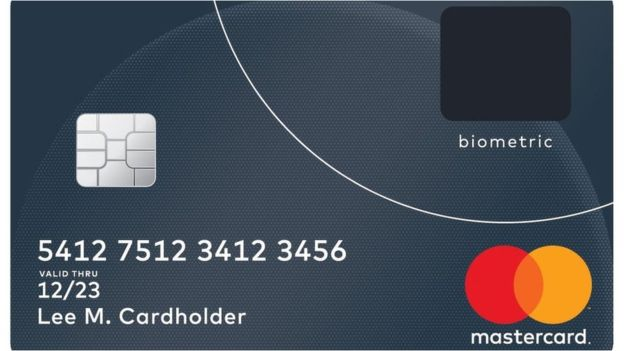 Credit card with a fingerprint sensor revealed by Mastercard